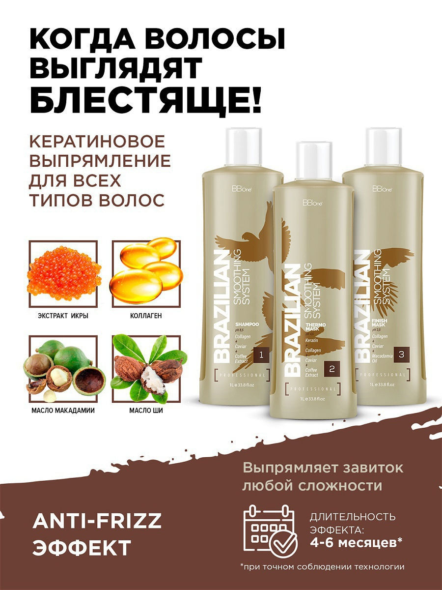 BB one  Кератин Шаг 2 Brazilian Smoothing System Thermo Mask 	1000 мл