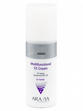 CC-крем защитный SPF-20 Multifunctional CC Cream Vanilla 01, 150 мл, ARAVIA Professional
