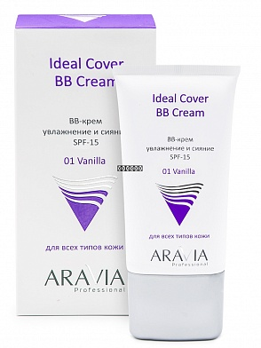 BB-крем увлажняющий SPF-15 Ideal Cover BB-Cream Vanilla 01, туба 50 мл, ARAVIA Professional